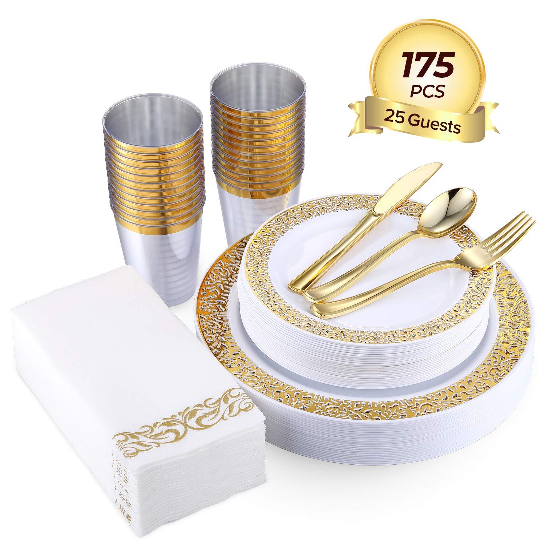 FOCUS LINE 175PCS Gold Disposable Dinnerware Sets for Party Wedding 25 Guests Dinner Plastic Plates Dessert Plates & Plastic Silverware Set & Cups & Napkins by Focus Line