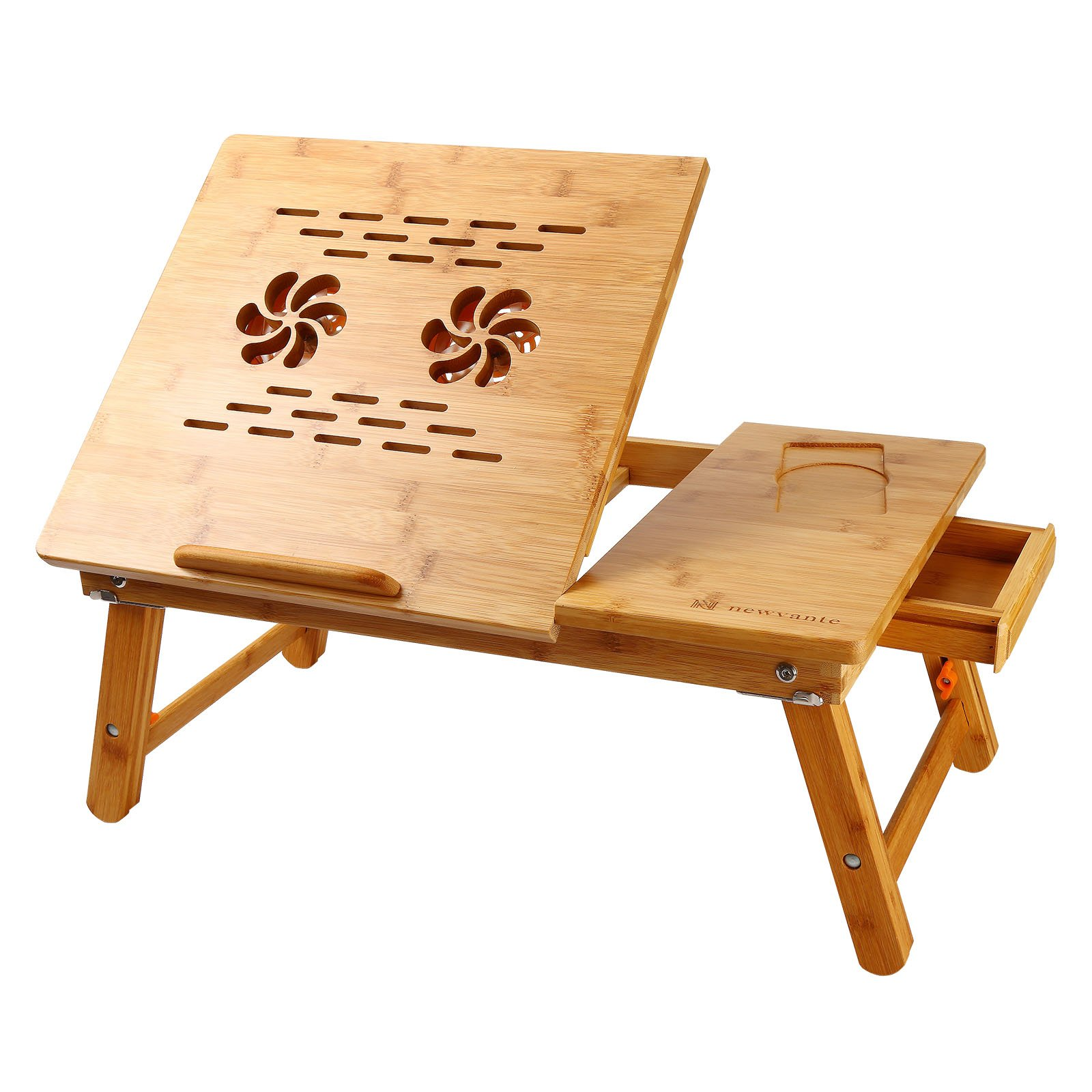 NNEWVANTE Laptop Desk Super Top Laptop Table 100% Bamboo Desk Adjustable with USB Fan2 Foldable Breakfast Serving Bed Tray Drawer