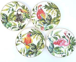 Tropical Birds Jungle Salad Dessert Appetizer Plates Set of 4 Parrot, Toucan, Flamingo, Lorikeet in Jungle Flora