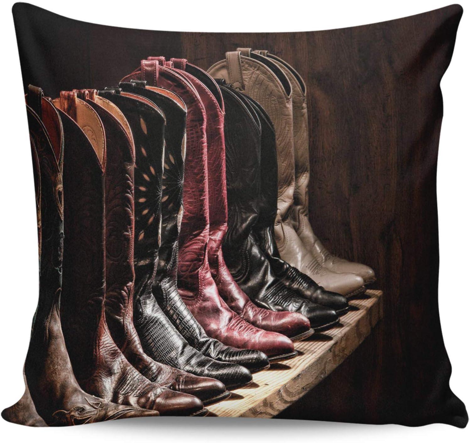Winter Rangers Fundas de almohada decorativas, botas de piel de vaquero vintage con punta de botas de almohada ultra suave, funda de cojín cuadrada cómoda para sofá dormitorio, 61 x 60 cm