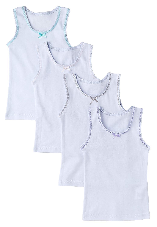 Sportoli Girls Ultra Soft 100% Cotton White and Assorted Tagless Tank Top Undershirts