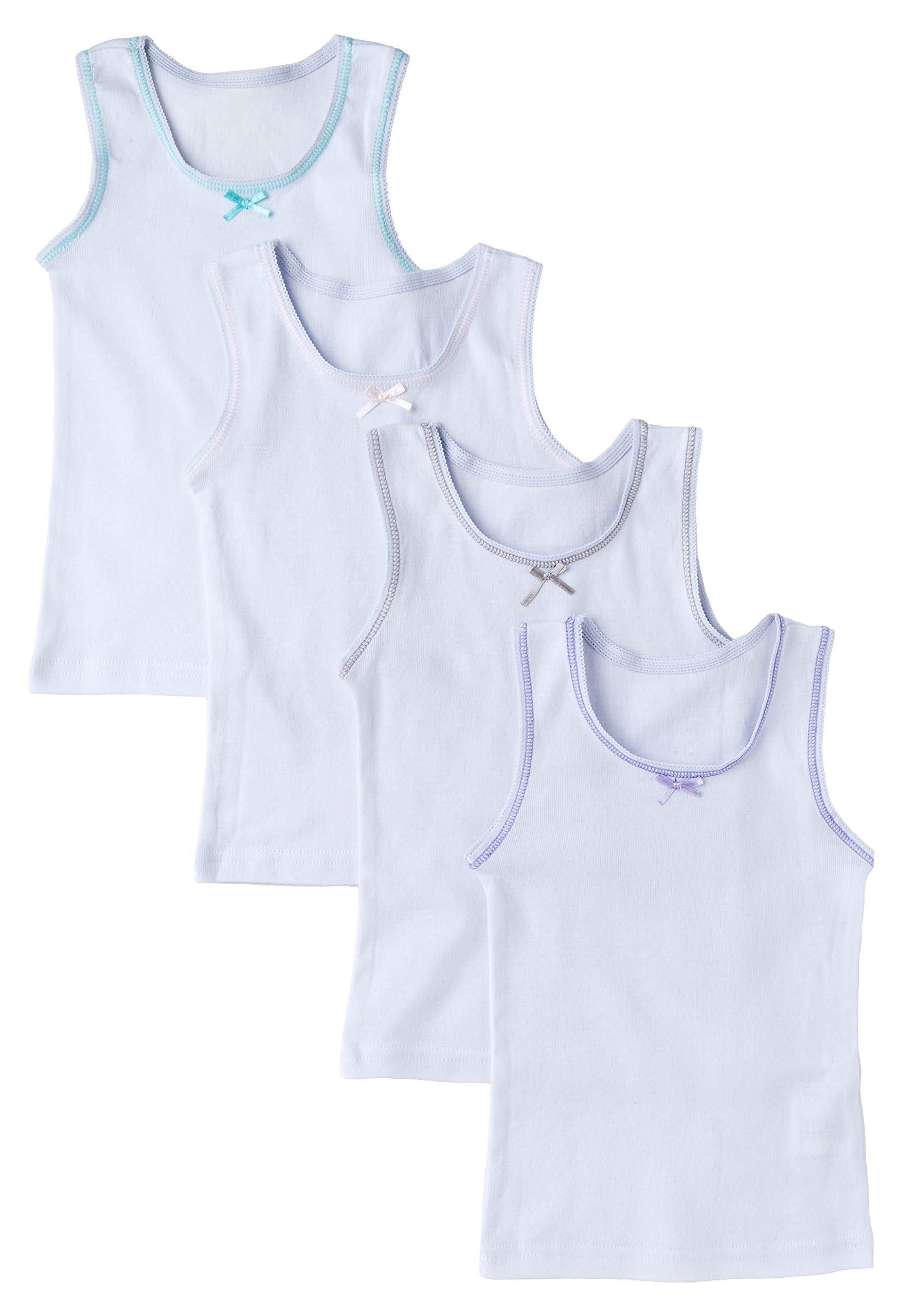 Sportoli Girls Ultra Soft 100% Cotton White Tagless Tank Top Undershirts - Size 6/7