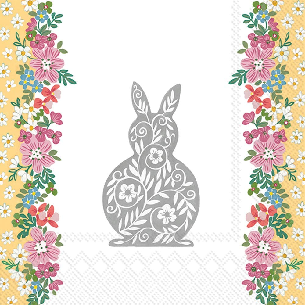 Boston International IHR Cocktail Beverage Paper Napkins, 5 x 5-Inches, Easter Greetings Grey
