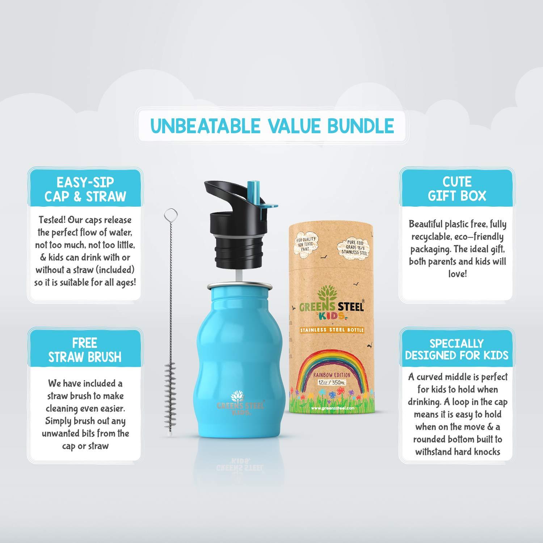 Botella de agua de niño - 350ml Botella a prueba de fugas Tapa con Pitillo - bebe niños cantimplora de acero para niños (azul)