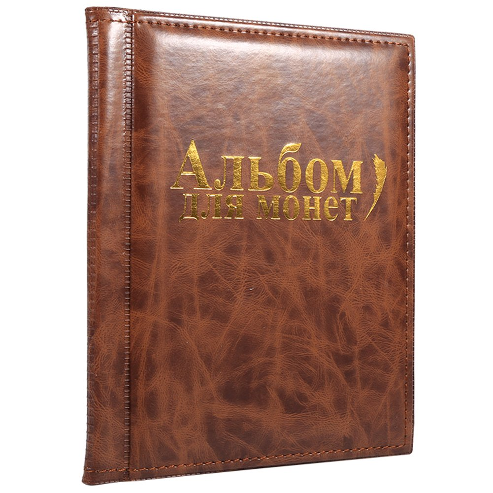 10 Pages Coin Album Coin Collectors 250 Pockets for Coin Storage Coin Collection Book Russian Language ( Color : Brown )