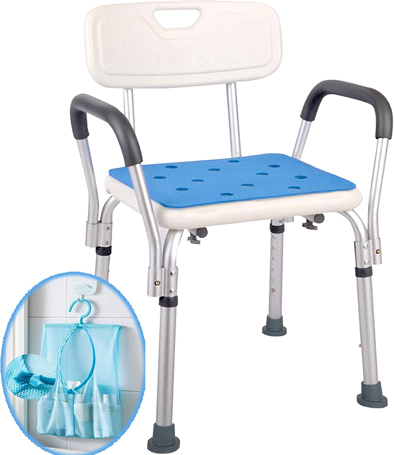 Shower Chair For Elderly With Rails Easily Adjustable Benches Tool Free Assembly Seat With Arms Back For Seniors Portable Handicap Bathtub Seats For Adults White Kitchen Dining