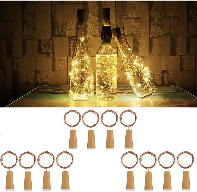 DOOK Luces de Botella de Vino,2M / 20 LED lámpara Decorada,DIY Guirnaldas Luces Led Románticas para Boda, Navidad, Fiesta, Hogar, Exterior, Jardín, Terraza, Dormitorio (Blanco cálido 12 Paquetes): Amazon.es: Deportes y aire