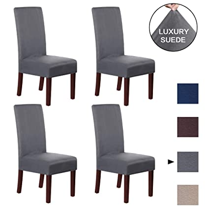 Great Bay Home Velvet Plush Dining Chair Slipcovers Summerhill Collection Set of 4, Taupe Washable Chair Covers