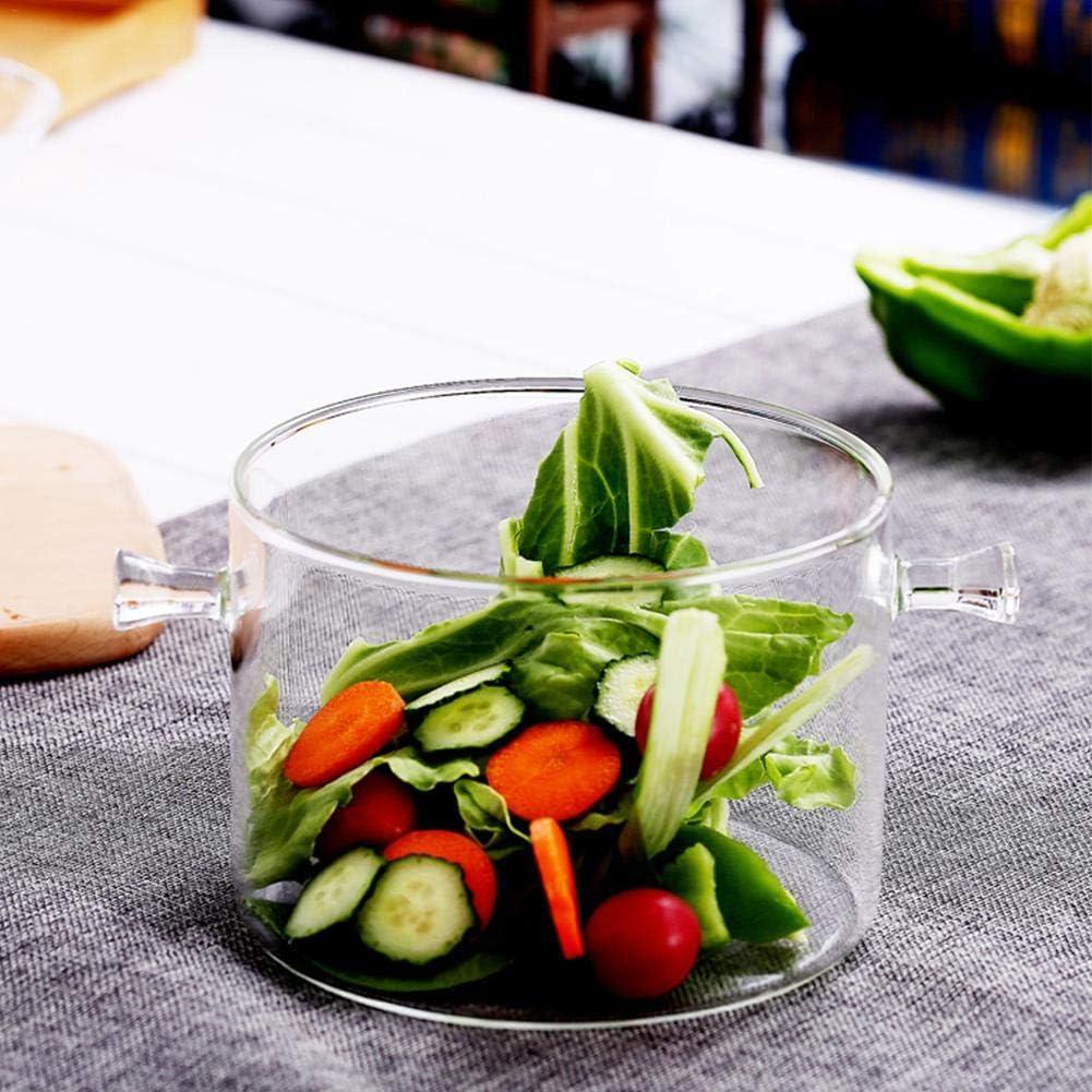Cazo de cristal fijado con tapa hecha a mano de cristal Juego de utensilios de cocina Olla de cocina