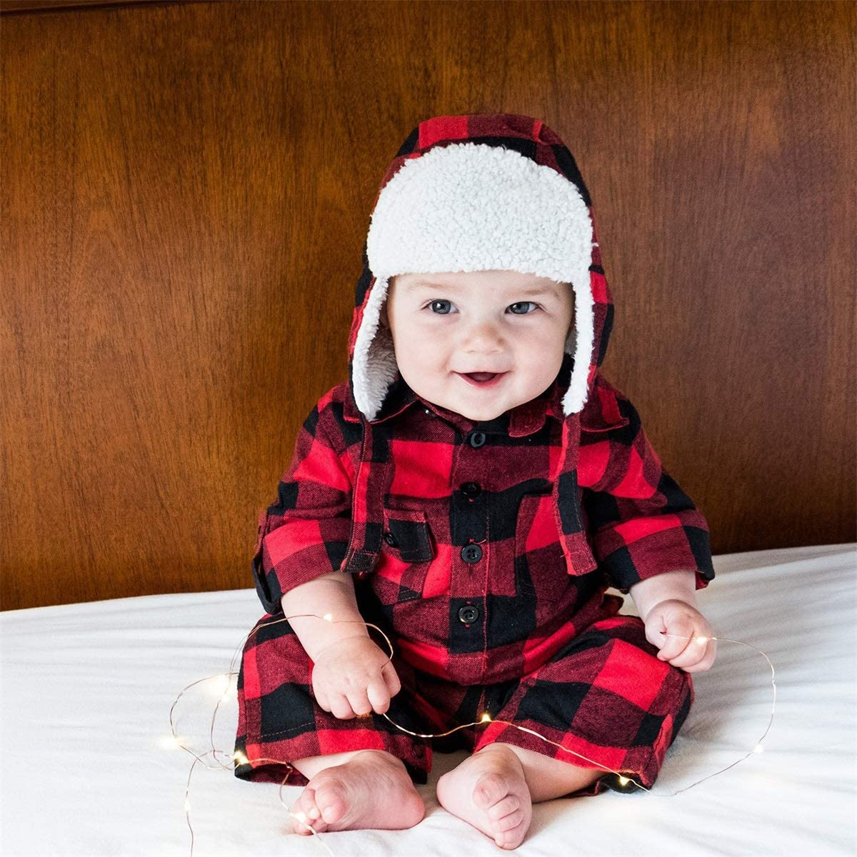 CIYCUIT 2 Pcs Baby Boys Girls Button Down Plaid Flannel Romper with Warm Hat