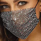 Barode Sparkly Rhinestones Mesh Mask Crystal Purple Masquerade Party Nightclub Face Masks Jewelry for Women and Girls (Black)