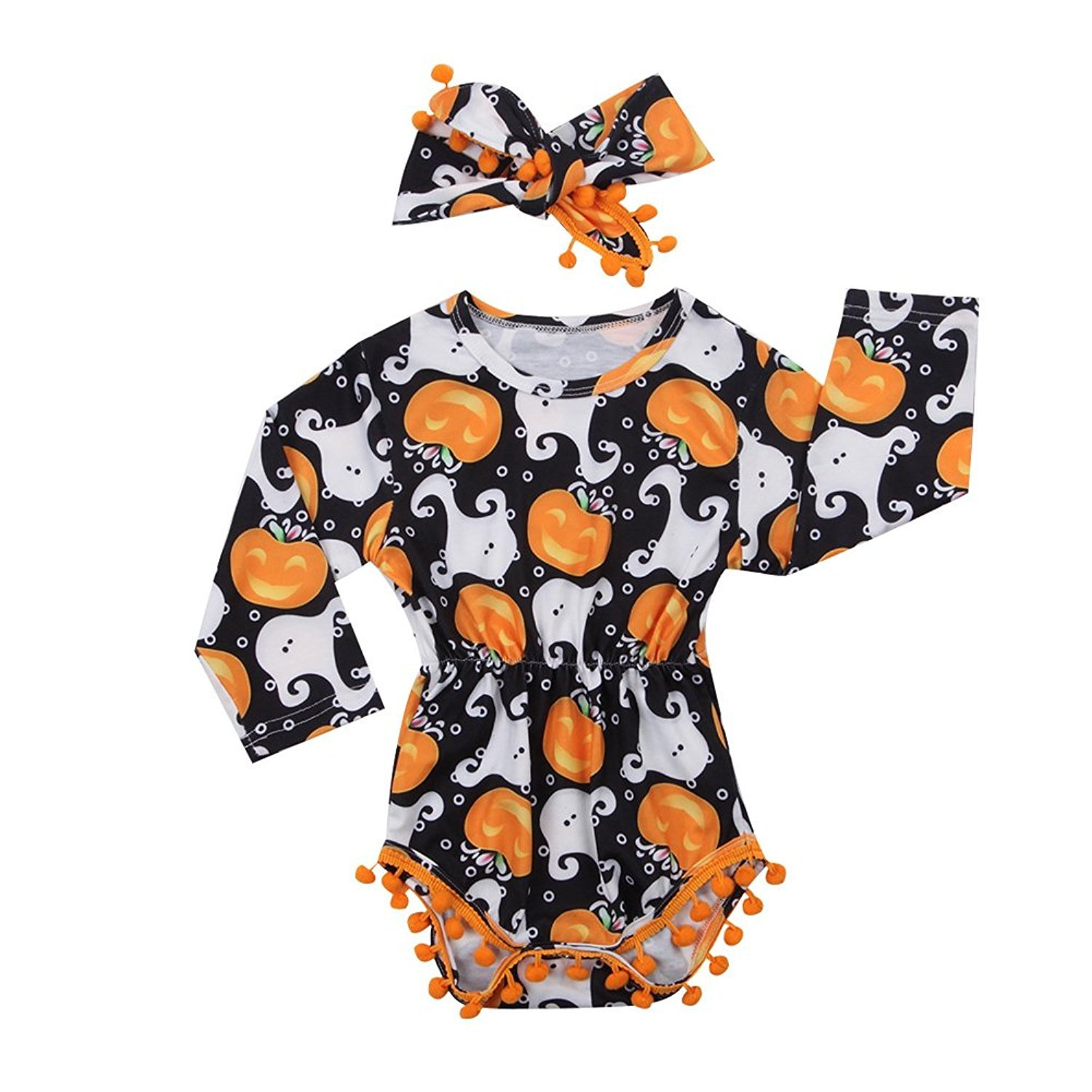 My First Halloween Outfit Sets Newborn Pumpkin Bodysuit with Headband Baby Girls Clothes(0-3M by Okgirl (Image #1)