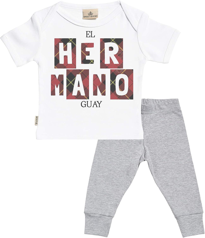 SR - El Hermano Guay Regalo para bebé - Blanco Camiseta para bebés & Negro Pantalones para bebé - Ropa Conjuntos para bebé