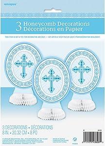 "8"" Radiant Cross Blue Religious Centerpiece Decorations, 3ct"