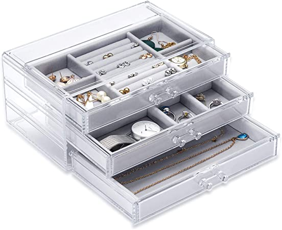 X L MAGNET Acrylic Jewelry Box with 4 Drawers Earring Rings Necklaces Bangle Bracelets Display Storage Holder Clear Velvet Jewellry Organizer Case Girls Gift for Women