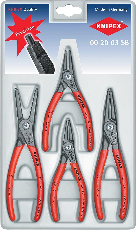 KNIPEX 00 20 03 SB 4 Piece Precision Circlip Snap-Ring Pliers Set