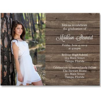 Amazon country graduation invitation brown white wood country graduation invitation brown white wood country rustic grad invite filmwisefo