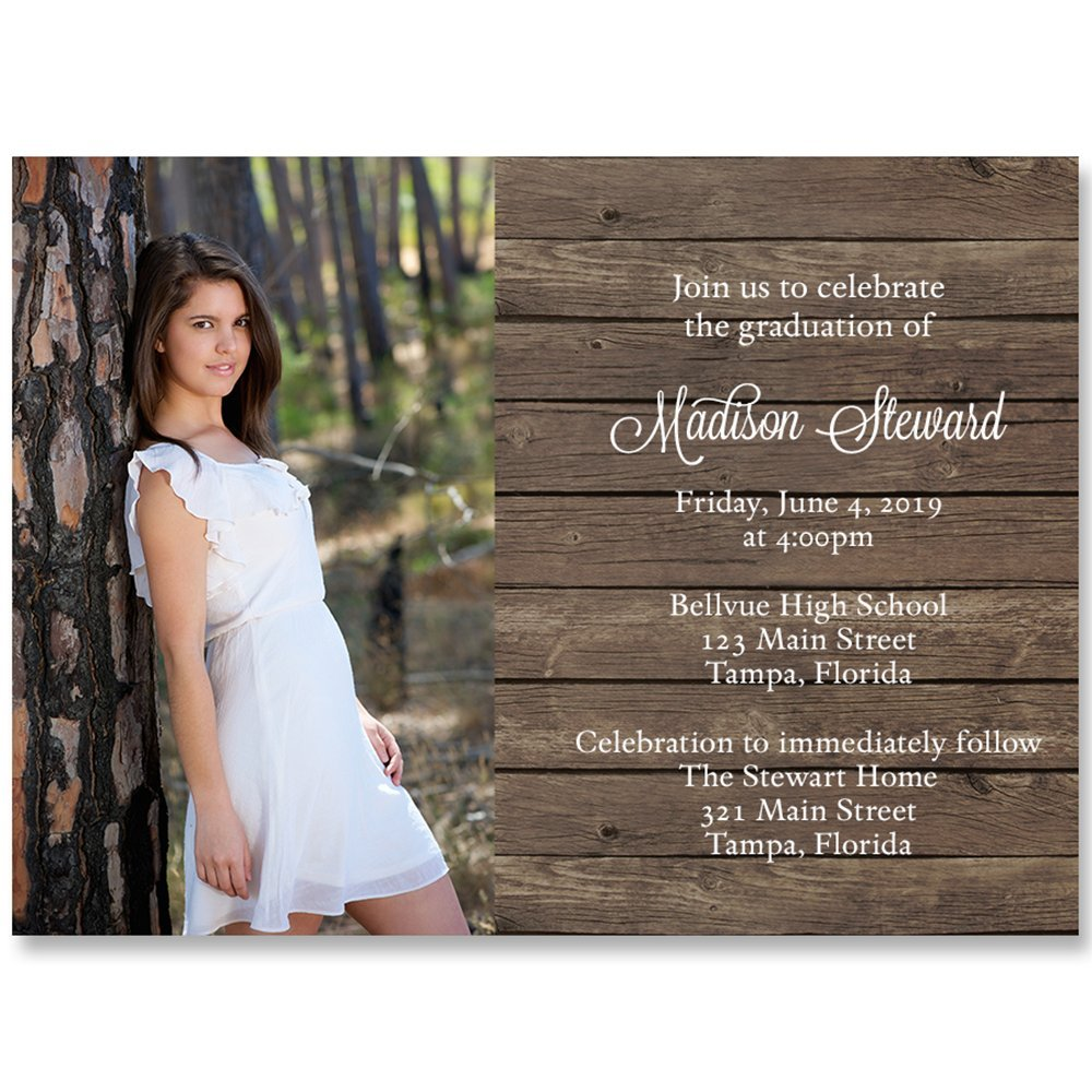 Country Graduation Invitation, Brown, White, Wood, Country, Rustic Grad Invite, College, High School, Military, Commencement, Graduate, Set of 10 Custom Printed Graduation Invites