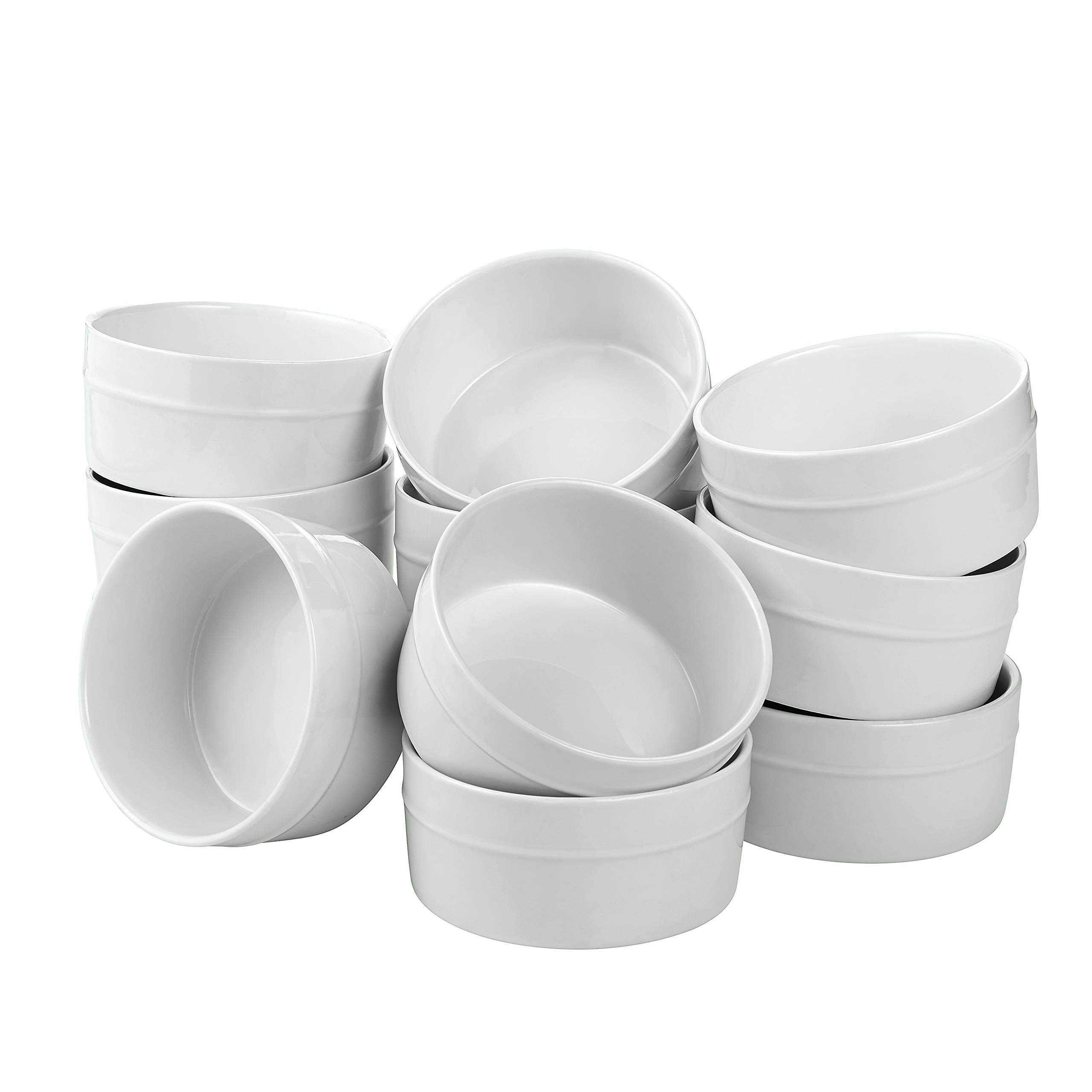 overandback 822324 Set of 12 Round Ramekin, 5'', White