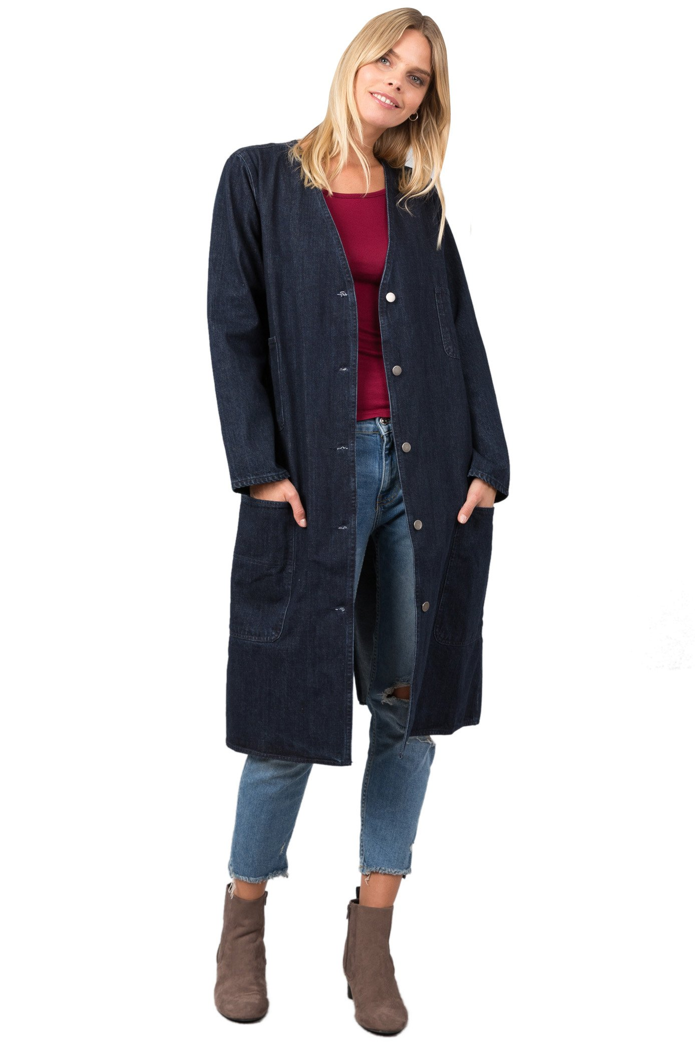 IJ70021-1 Button Down Collarless Long Shop Coat Denim M