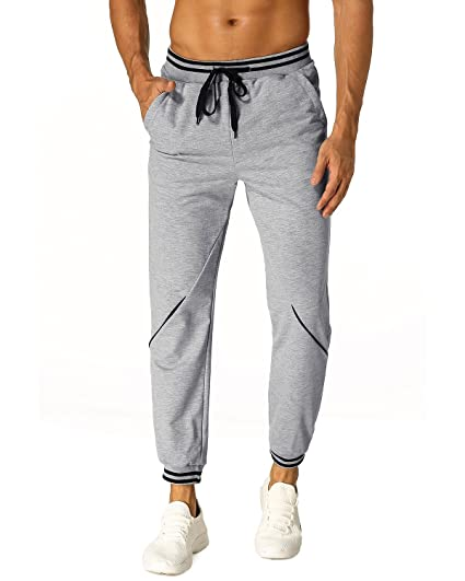 MODCHOK Homme Pantalon Jogging Sarouel Sweat Pants Loose Sport Chino Jogger  Casual Fitness Gris Clair S f8d7bfd92fb
