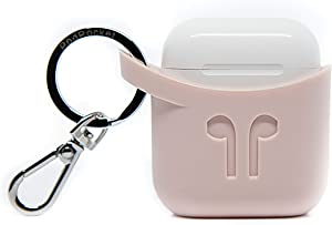 PodPocket Scoop AirPod Storage Case with Protective Translucent Silicone and Impact Protection Ash Pink