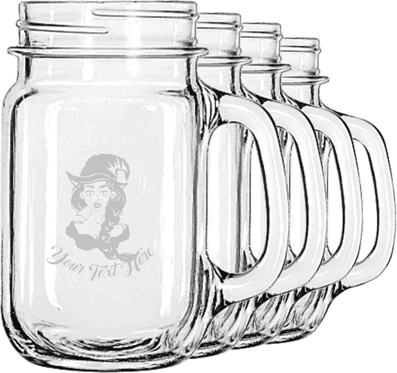 Witches On Halloween Mason Jar Mugs (Set of 4) (Personalized)