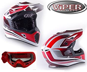 Cascos Motocross: VIPER RS-X95 WIDOW adultos Casco moto scooter MX todoterreno Enduro Quad