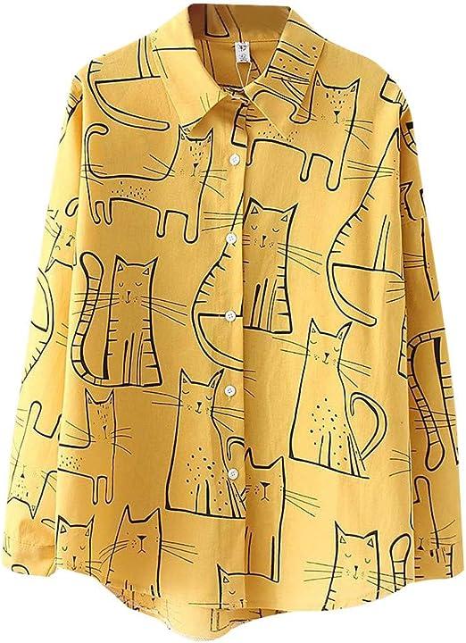 Vectry Moda Mujer Moda Gato De Manga Larga Camisa Coreana Casual Blusa Suelta Casual Tops Elegantes Camisas 2019 Verano Camisas De Mujer: Amazon.es: Ropa y accesorios