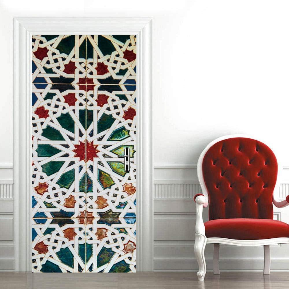 Etiqueta de la puerta Puerta acristalada Autoadhesivo Impermeable Vinilos Puertas Pegatinas Para Decorativos Para la Puertas interior del Dormitorio Murales 77X200cm