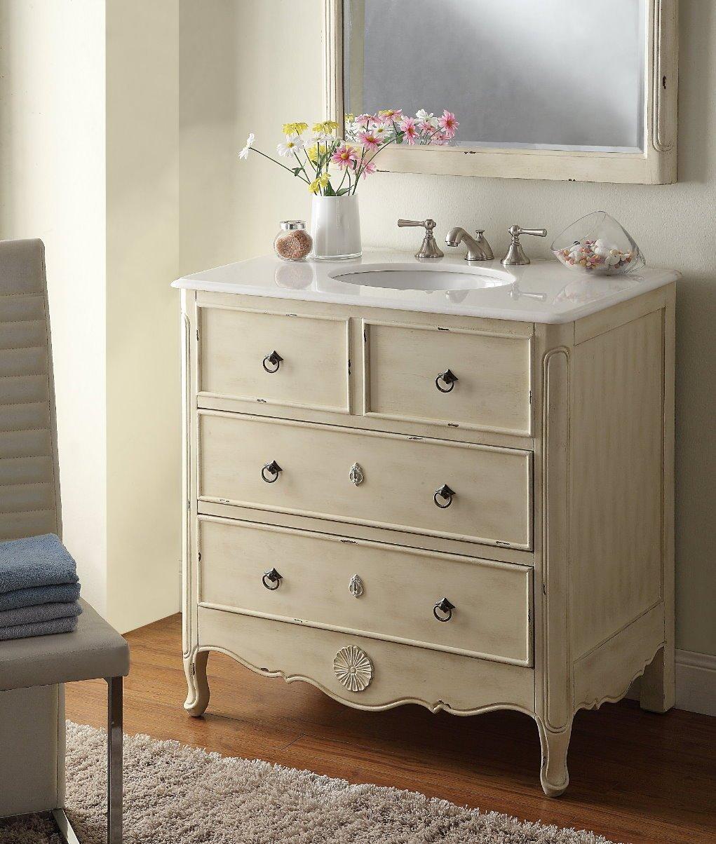 Distressed bathroom cabinet - 34 Cottage Look Daleville Bathroom Sink Vanity Model Hf081wp Distressed Cream Amazon Com