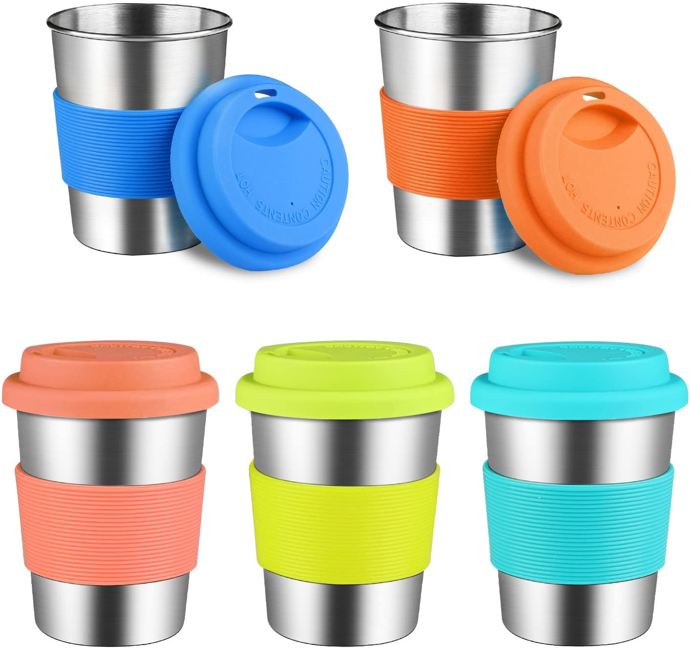 Kids Stainless Steel Cups With Silicone Lids & Sleeves, Kereda 5 Pack 8 oz. Drinking Tumblers Eco-Friendly BPA-Free for Children and Toddlers, Adults