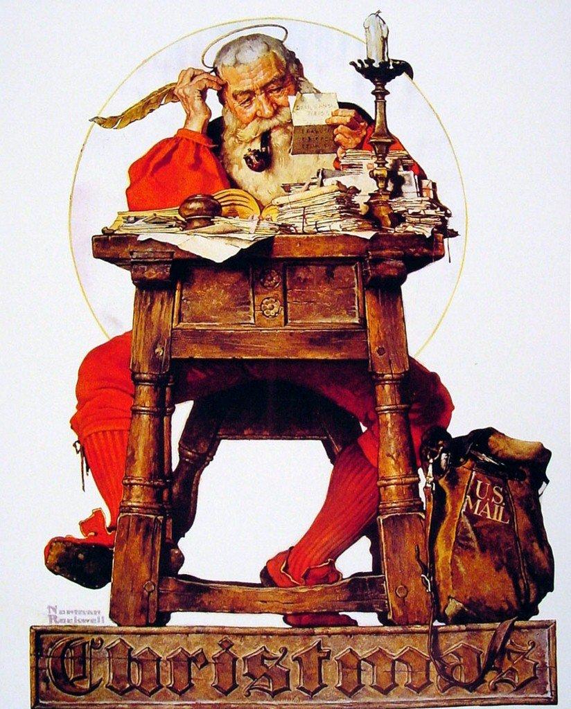 Amazon.com: Norman Rockwell Christmas Santa Reading Mail 1935 Art ...