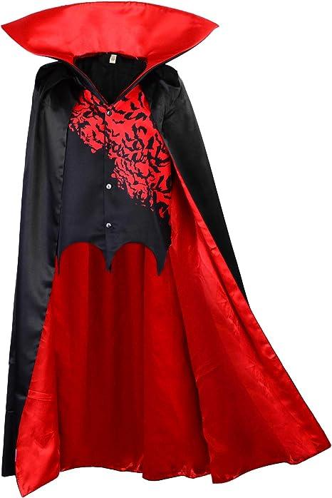 Capa de Vampiro para niños con Chaleco Capa de Cuello Alto Negro ...