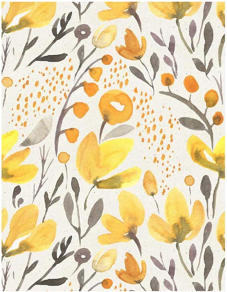 Blooming Wall PS032 Peel&Stick Handpainting Watercolor Seamless Yellow Fresh Floral Kapok Self-Adhesive Prepasted Wallpaper Wall Mural