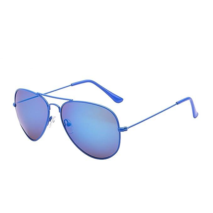 415da0ede58 JM Gafas de Sol Retro de Espejo Aviador Lentes Teñido Brillantes Anteojos Para  Mujer Hombre UV400