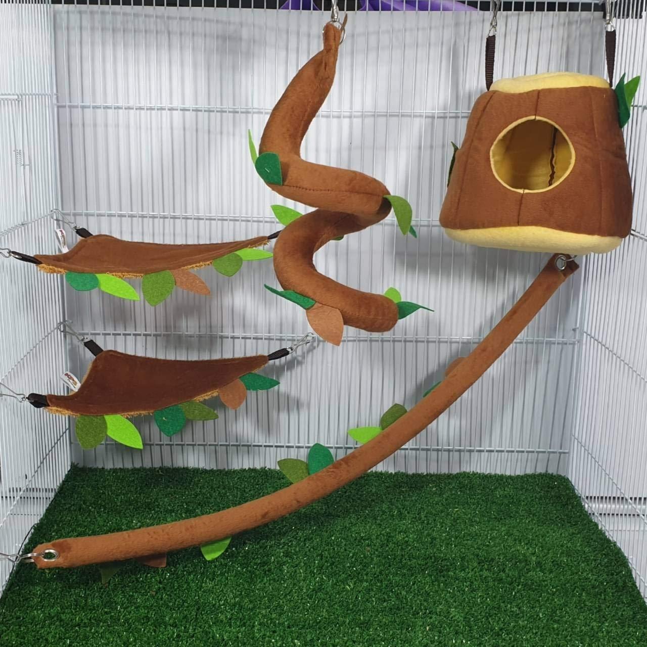 HOT! 5 Pcs Sugar Glider Hamster Squirrel Chinchillas Small Pet Cage Set Hanging Vertical Log Forest Pattern Get Free 1 Small Pet Treats, Polar Bear's Republic (Light Brown Set) by Polar Bear's Pet Shop