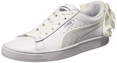new product 98c2f a145b Puma Women's Basket Bow Satin Wn s White Leather Sneakers-8 ...