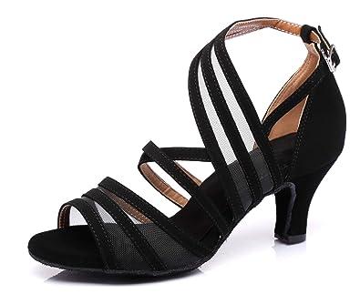 ec438ff67d MINITOO QJ7036 Women's Fashion Strappy Suede Ballroom Latin Tango Dance  Shoes