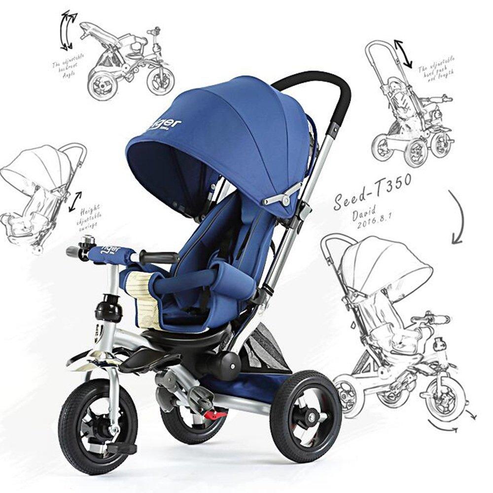 YANGFEI 子ども用自転車 回転式シート、背もたれをリクライニングしている4人の子供の3人乗り三輪車 212歳 B07DWZJDV7青