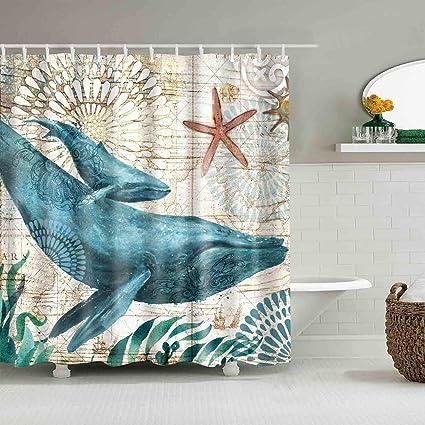 Whale Sea Ocean Shower Curtains Mediterranean Style Marine Life Bath Fantastic Decorations Waterproof Mildew Resistant