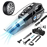 VARSK 4-in-1 Car Vacuum Cleaner, Tire Inflator Portable Air Compressor with Digital Tire Pressure Gauge LCD Display and LED L