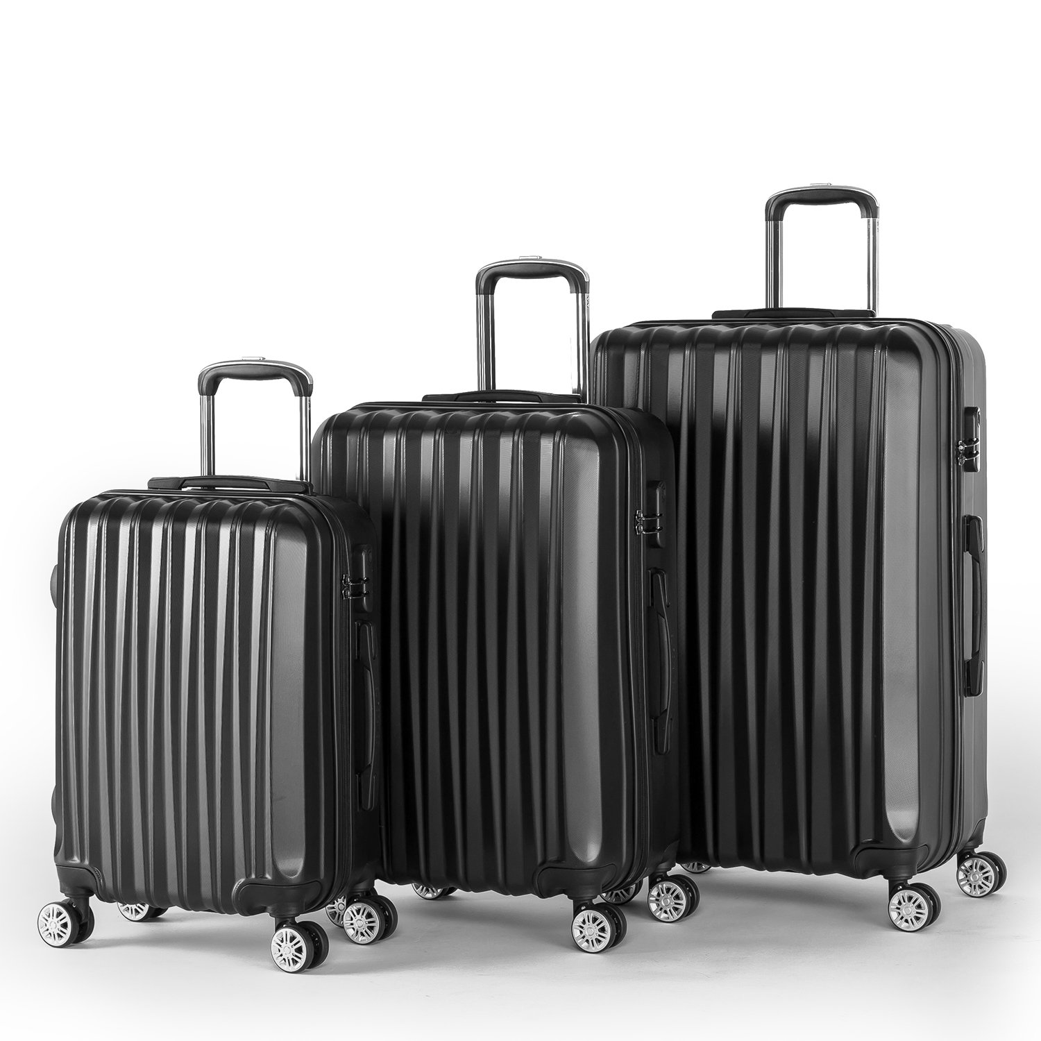 Compaclite Voyager ABS + PC 3 Piece Luggage Set Lightweight Spinner Suitcases, Black