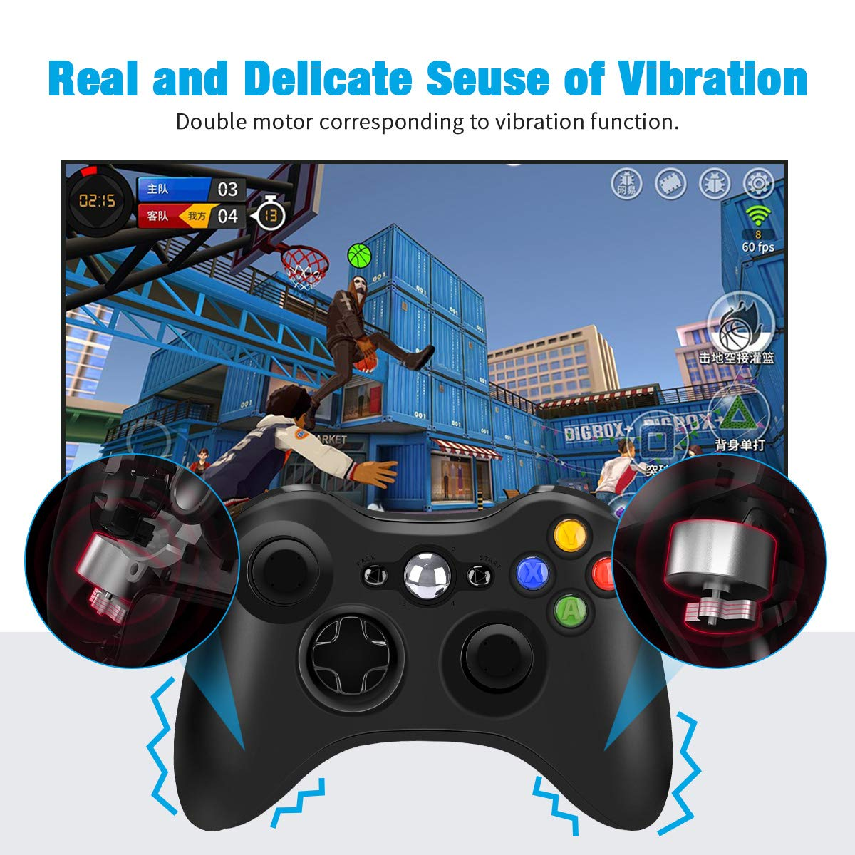 Wireless Controller for Xbox 360, 2.4GHZ Joystick Wireless Game Controller for Microsoft Xbox 360 Slim Console and PC Windows 7,8,10 (Black)