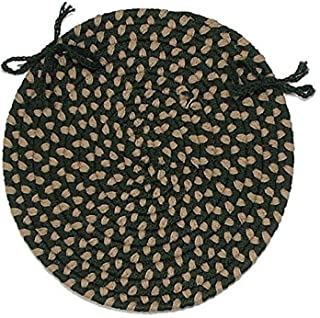 product image for Brook Farm Round Braided Chair Pad Color: Winter Greens