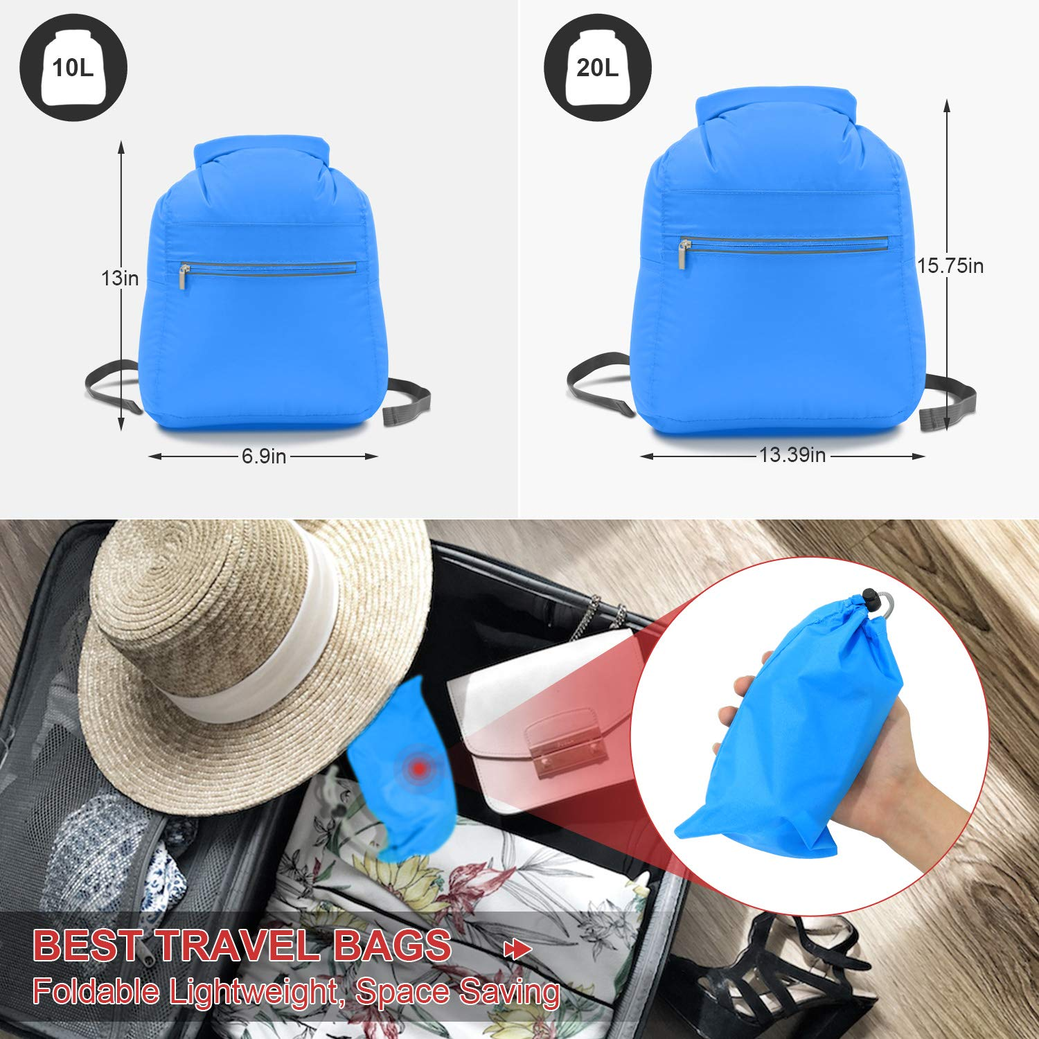 N NEWKOIN Dry Bag Waterproof Backpack, Lightweight Portable Convenient Storage Wet Dry Bag Foldable with Wet Towel Separate Bag for Rafting, Swimming, Beach, Kayaking with Waterproof Phone Case