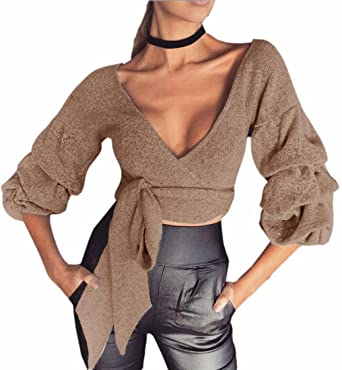 3b9240c2a2 HTOOHTOOH Women s Deep V-Neck Wrap Cropped Bow Tie Knitted Pullover Pure  Sweater ...