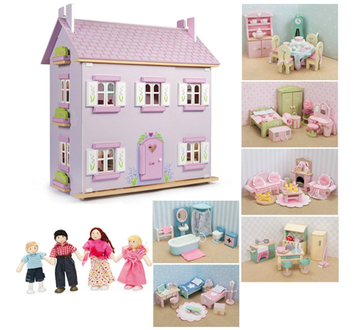 Le Toy Van Lavendel Haus Puppenhaus Aus Holz Mit Möbeln (6 Sets Daisylane  Möbel + Puppen): Amazon.de: Baumarkt