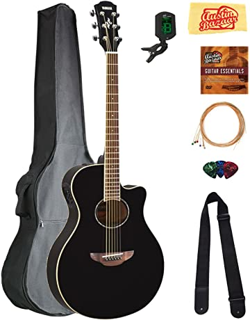 Yamaha APX600 Thin Body Acoustic-Electric Guitar - Black Bundle with Gig Bag, Tuner