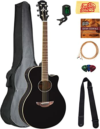 Yamaha APX600 Thin Body Acoustic-Electric Guitar - Black Bundle with Gig  Bag, Tuner, Strings, Strap, Picks, Austin Bazaar Instructional DVD, and